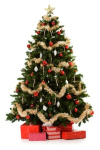 Plastic Decorated Christmas Tree with gift boxes