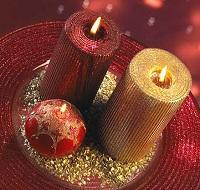 red and golden candles
