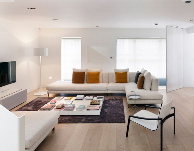 Contemporary White Sofa with Light Wood Color Floor