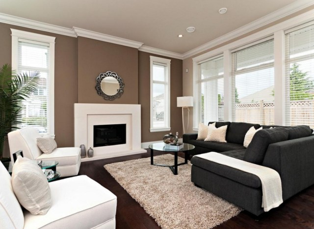 White & Chocolate Brown Sofas with Brown Walls Living Room