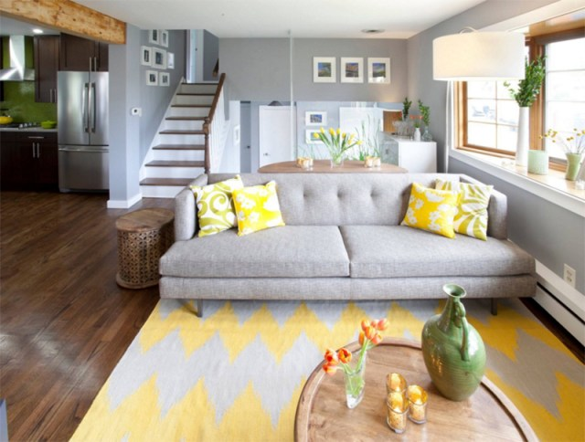 grey and yellow sofa rug living room ideas