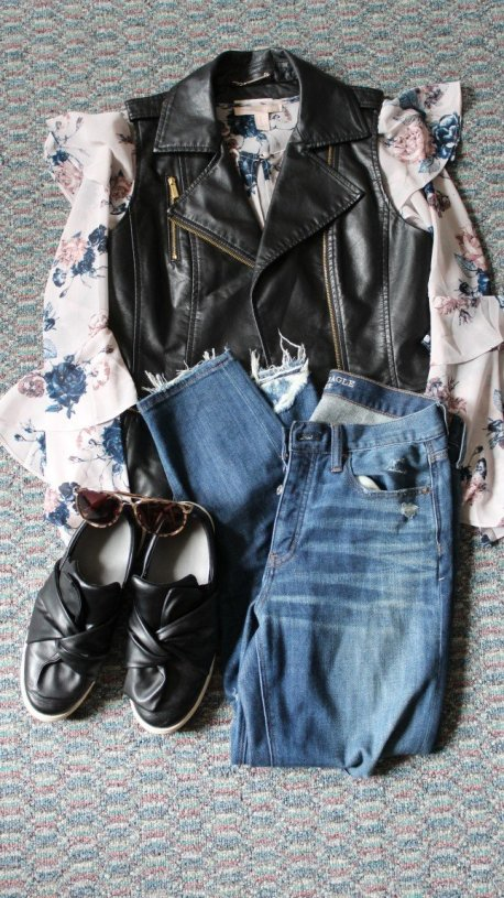 The Face Of Style: April 2017 Favorites - American Eagle Vintage High Rise Jeans paired with Calvin Klein faux leather vest, Forever 21 ruffle sleeve shirt, and Target knot slip on shoes