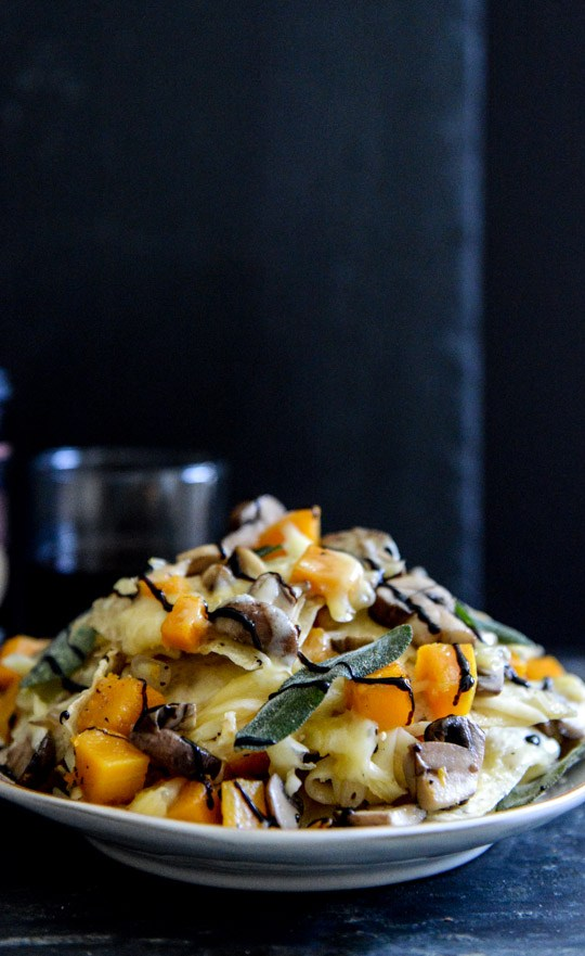 Butternut mushroom and fontina nachos with crispy sage | Butternut Squash Recipes for Fall