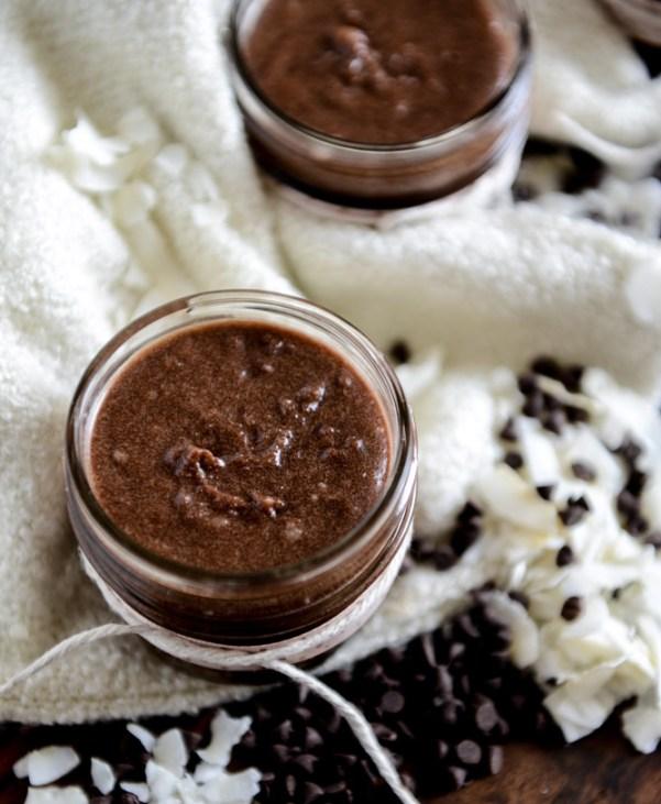 homemade chocolate coconut sugar scrub I howsweeteats.com
