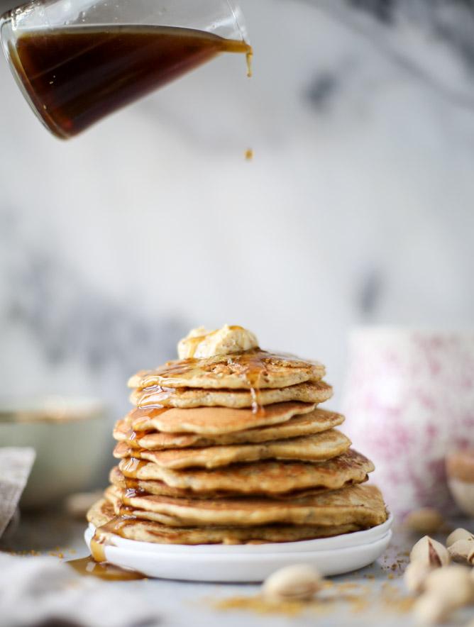 pistachio pancakes with pistachio butter I howsweeteats.com
