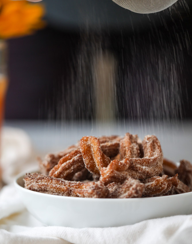apple cider churros with cider beer caramel I howsweeteats.com