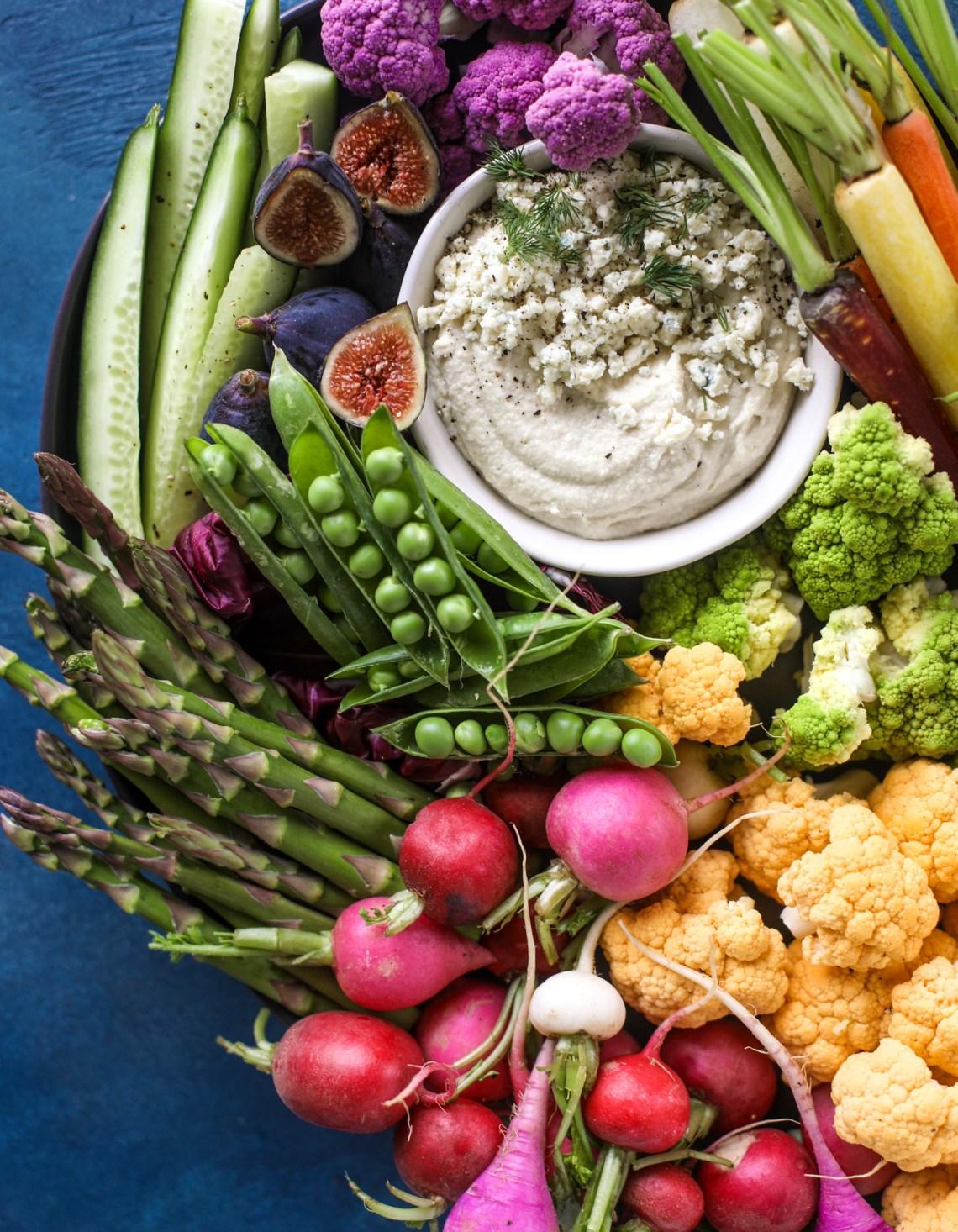 colorful spring veggie board