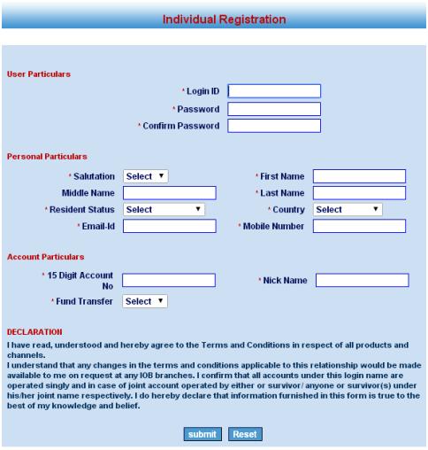 indian bank mobile registration form