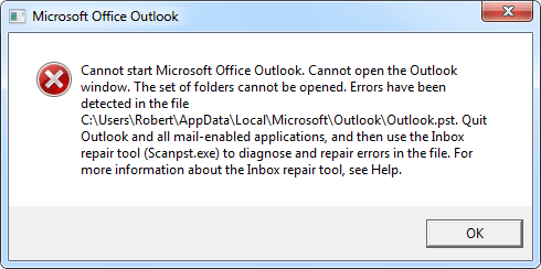 Cannot start Microsoft Outlook. Cannot open the Outlook window. The set of folders cannot be opened. Errors have been detected in the file <path to pst-file>. Quit Outlook and all mail-enabled applications and then use the Inbox repair tool (Scanpst.exe) to diagnose and repair errors in the file. For more information about the Inbox repair tool, see Help.