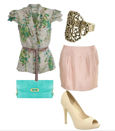 Daily Look: Romantic Daytime Date with Florals, Pink and Turquoise