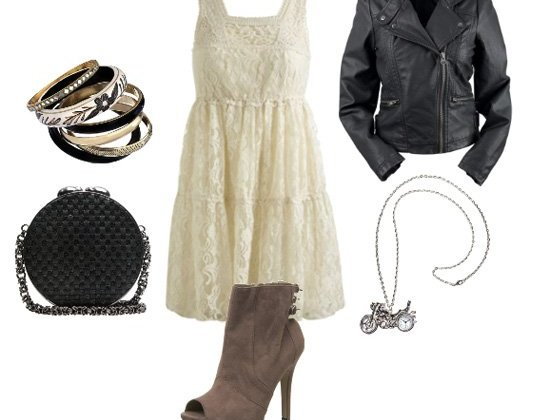 How to Wear a Lace Dress with a Leather Jacket 2
