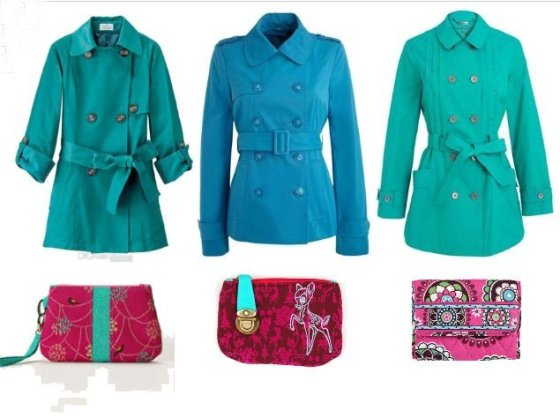 Shopping Time: Turquoise Trench Coats and Fuchsia Wallets!  2