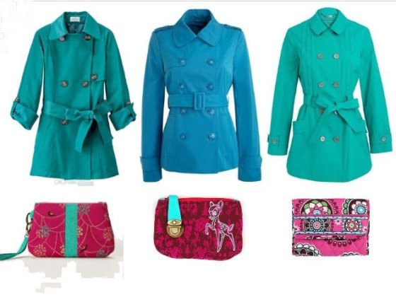 Shopping Time: Turquoise Trench Coats and Fuchsia Wallets!  3