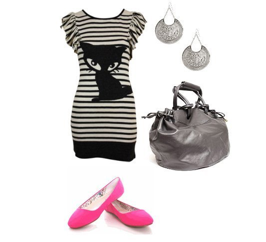 Daily Outfit Under $60: Black & White Liney Cat
