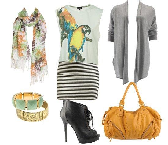 parrot top, stripes skirt, cardigan, orange bag 1