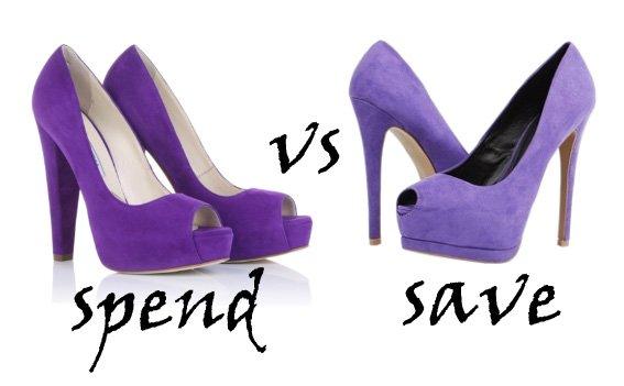 Spend VS Save: Purple Peep-Toe Platforms