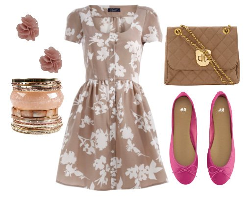 Daily Look for $100: Beige Florals and Pink Accents