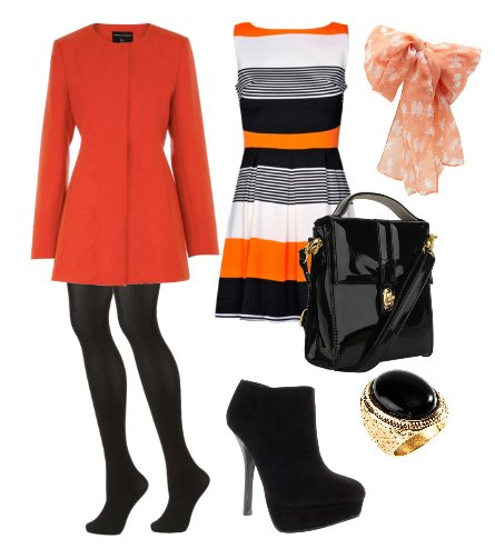 Daily Look: 7-Piece Color-Block Orange, Black and White for $160