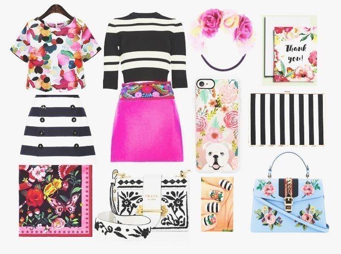 Decor Meets Fashion - Mixing Prints: Desaturated Stripes & Bright Florals 1