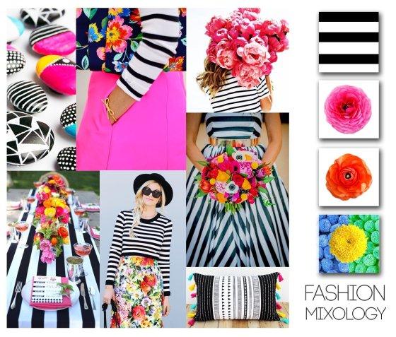 Decor Meets Fashion - Mixing Prints: Desaturated Stripes & Bright Florals 16