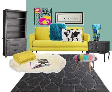 Decor Dare: Mix Turquoise, Yellow and Coal 1
