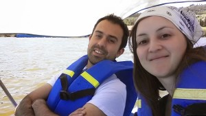 Enjoying a peddle-boat trip on Lake Sochagota