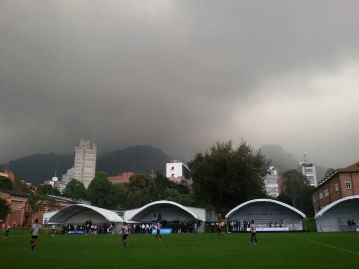 A threatening sky over Bogotá's eastern mountains