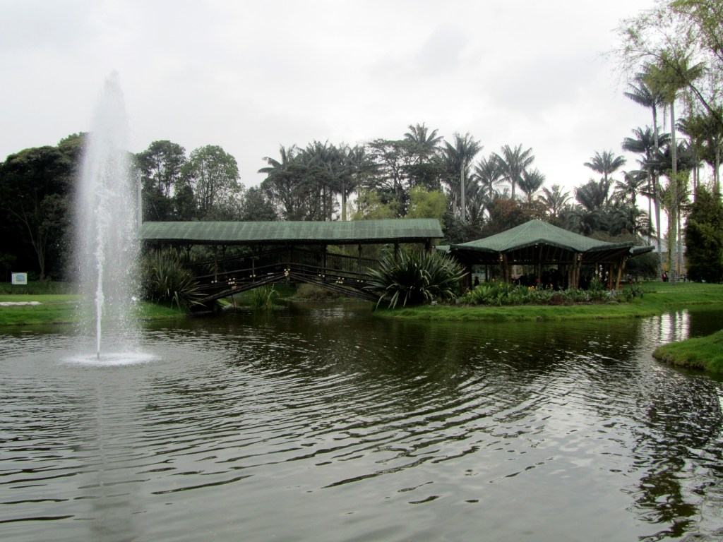 bogota botanical garden main lake and bridge.