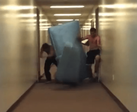 mattress jousting collision