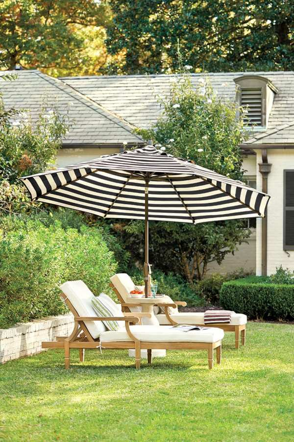 Black and White Striped Patio Umbrella