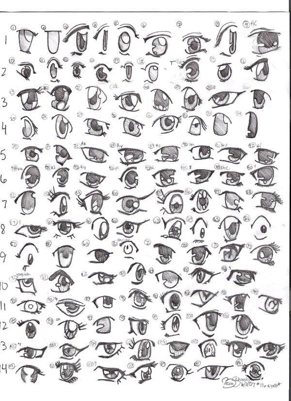 [Sưu tầm] Một số kiểu mắt-miệng để vẽ khuôn mặt manga