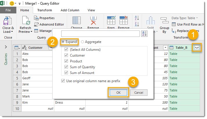 Combine-Queries-A-and-B-with-Merge-Step-3 How To Compare Two Tables Using Get & Transform