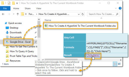 How To Create A Hyperlink To The Current Workbook Folder