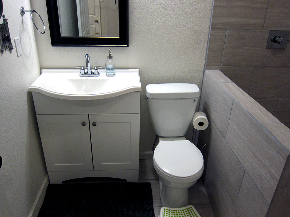 how to finish a basement bathroom - before and after pictures