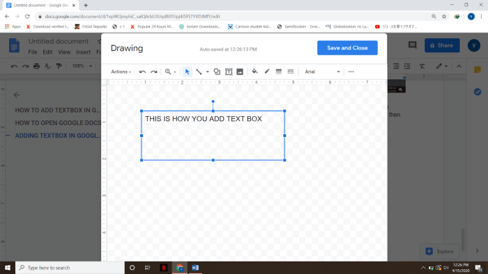 HOW TO ADD TEXTBOX IN GOOGLE DOCS