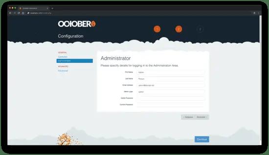 Administrator user setup