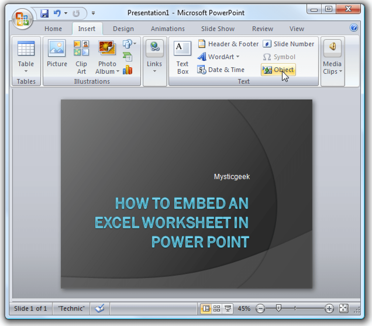 Embed An Excel Worksheet Into Powerpoint Or Word