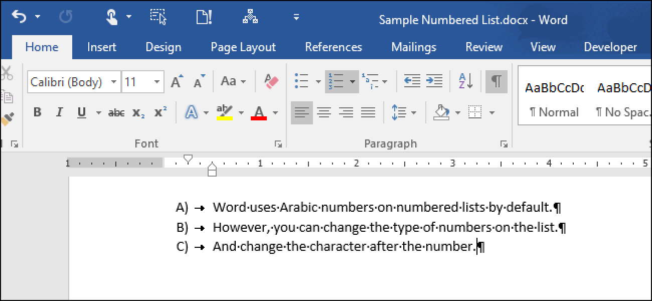 How to Change the Type of Numbers Used in a Numbered List in Word