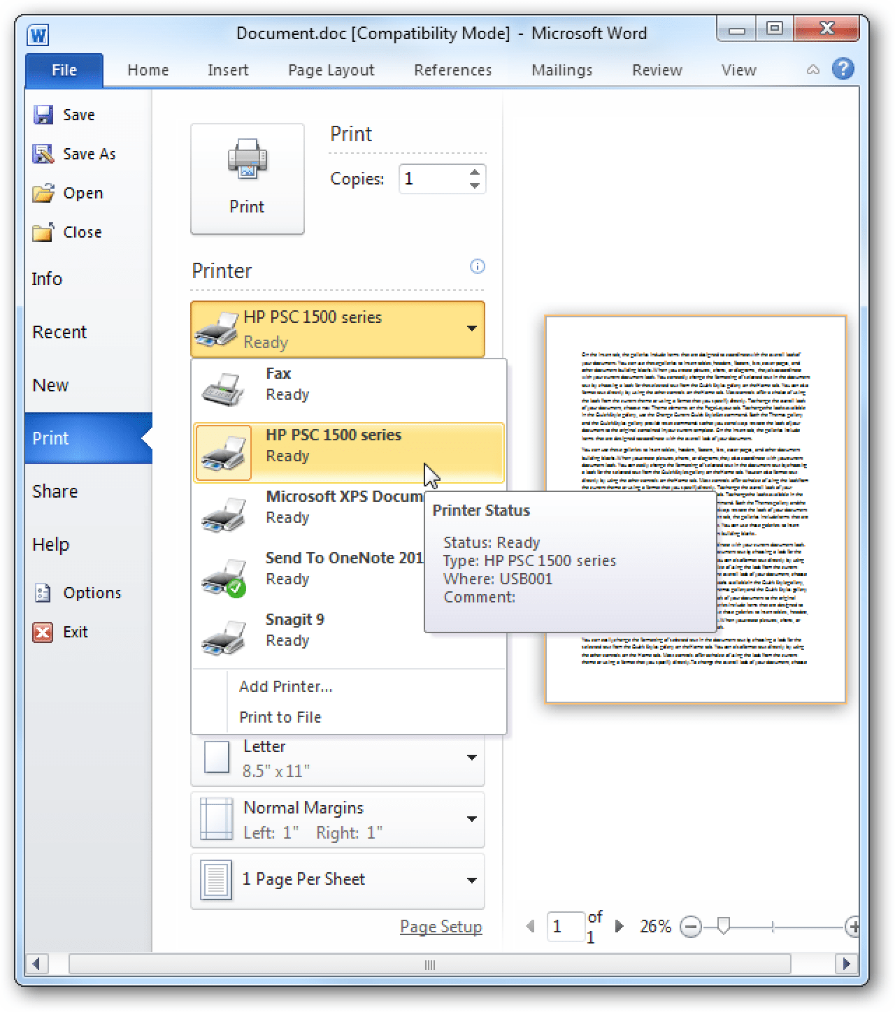 Use The Streamlined Printing Features In Office