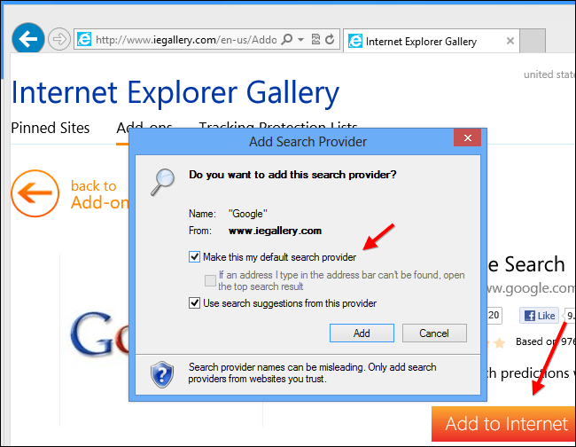 how to make google your search engine windows 10