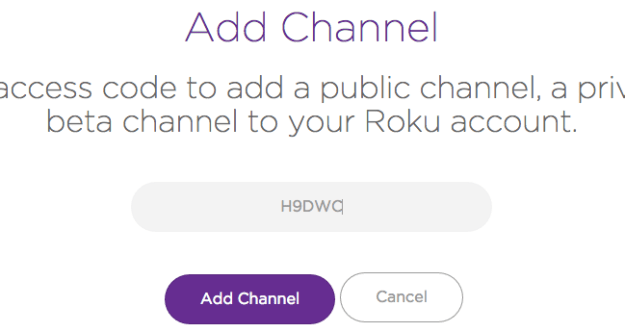 Enter the channel code to add your Roku private channel