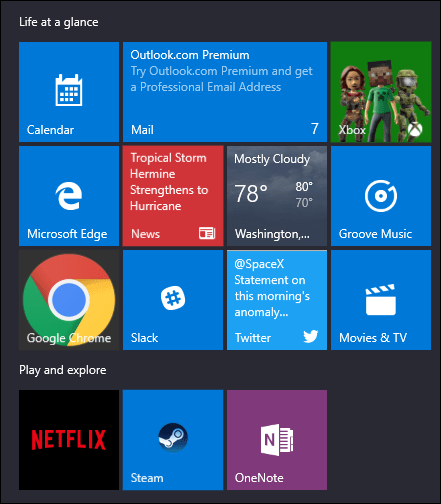 start menu with extra tiles showing