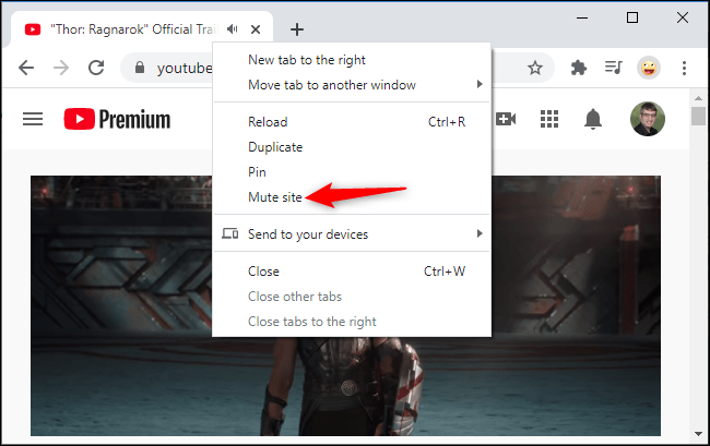 """Right-click a tab in Chrome and select the """"Mute Site"""" option"""