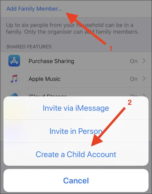 """Tap Add Family Member, followed by """"Create Child Account."""""""