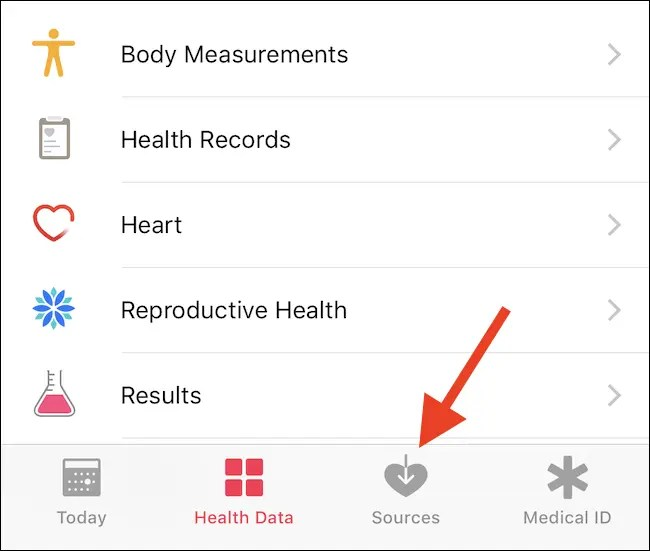 Open Health and tap Sources