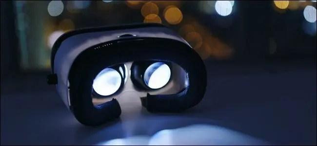 Virtual reality headset inside at night