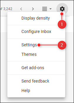 The Settings option in Gmail