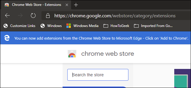 Chrome Extension store viewed on Edge browser