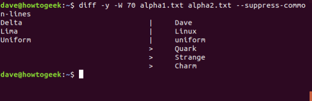 diff command in a terminal window