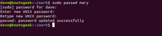 passwd command in a terminal window
